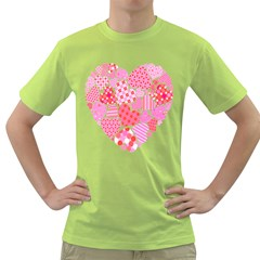 Valentines Day Pink Heart Love Green T Shirt
