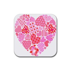 Valentines Day Pink Heart Love Rubber Square Coaster (4 Pack)