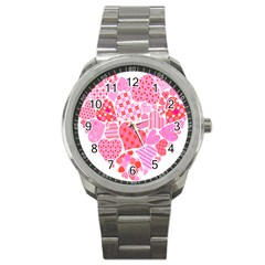 Valentines Day Pink Heart Love Sport Metal Watch by Alisyart