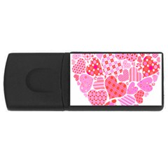 Valentines Day Pink Heart Love Usb Flash Drive Rectangular (4 Gb) by Alisyart