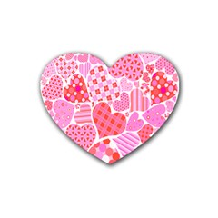 Valentines Day Pink Heart Love Rubber Coaster (heart)
