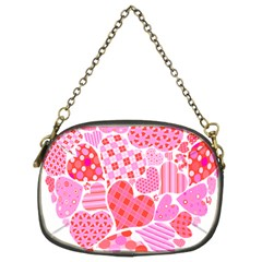 Valentines Day Pink Heart Love Chain Purses (two Sides)  by Alisyart