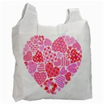 Valentines Day Pink Heart Love Recycle Bag (One Side) Front