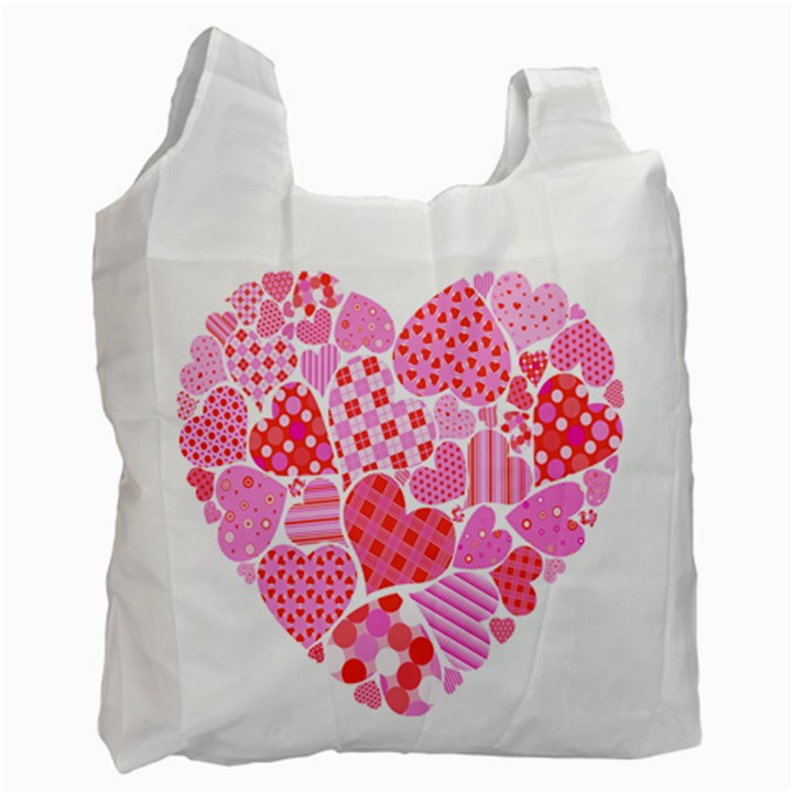 Valentines Day Pink Heart Love Recycle Bag (One Side)