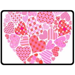 Valentines Day Pink Heart Love Fleece Blanket (large)