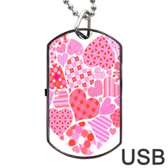 Valentines Day Pink Heart Love Dog Tag Usb Flash (one Side)
