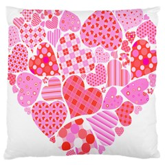 Valentines Day Pink Heart Love Large Cushion Case (two Sides)