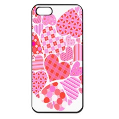 Valentines Day Pink Heart Love Apple Iphone 5 Seamless Case (black)