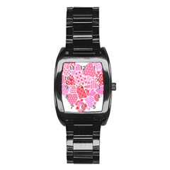 Valentines Day Pink Heart Love Stainless Steel Barrel Watch