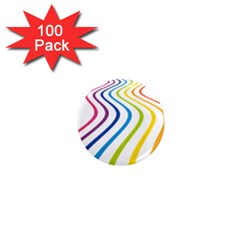 Wave Rainbow 1  Mini Magnets (100 Pack)