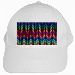 Wave Chevron Rainbow Color White Cap by Alisyart
