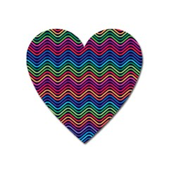 Wave Chevron Rainbow Color Heart Magnet by Alisyart