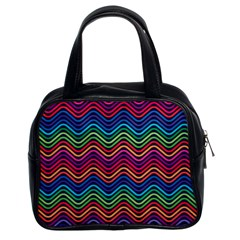 Wave Chevron Rainbow Color Classic Handbags (2 Sides)