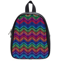 Wave Chevron Rainbow Color School Bags (small)