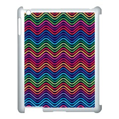 Wave Chevron Rainbow Color Apple Ipad 3/4 Case (white)