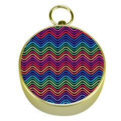 Wave Chevron Rainbow Color Gold Compasses