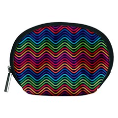 Wave Chevron Rainbow Color Accessory Pouches (medium)