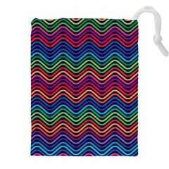 Wave Chevron Rainbow Color Drawstring Pouches (xxl)