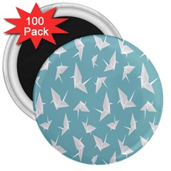 Origamim Paper Bird Blue Fly 3  Magnets (100 Pack)