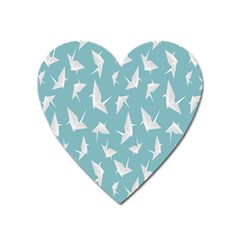 Origamim Paper Bird Blue Fly Heart Magnet