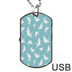 Origamim Paper Bird Blue Fly Dog Tag Usb Flash (one Side)