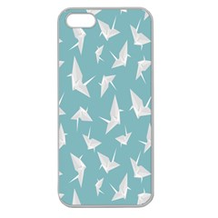 Origamim Paper Bird Blue Fly Apple Seamless Iphone 5 Case (clear)
