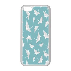 Origamim Paper Bird Blue Fly Apple Iphone 5c Seamless Case (white) by Alisyart
