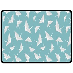 Origamim Paper Bird Blue Fly Double Sided Fleece Blanket (large)
