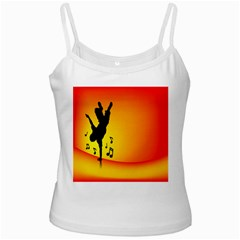 Breakdancer Dancing Orange White Spaghetti Tank