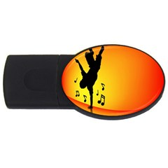 Breakdancer Dancing Orange Usb Flash Drive Oval (4 Gb) by Alisyart