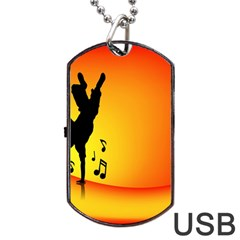 Breakdancer Dancing Orange Dog Tag Usb Flash (one Side)