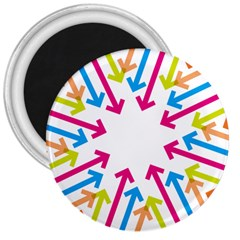 Arrows Pink Blue Orange Green 3  Magnets