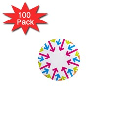 Arrows Pink Blue Orange Green 1  Mini Magnets (100 Pack)