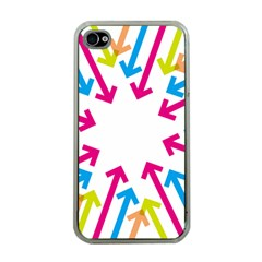 Arrows Pink Blue Orange Green Apple Iphone 4 Case (clear) by Alisyart