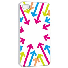 Arrows Pink Blue Orange Green Apple Iphone 4/4s Seamless Case (white)