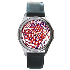 Bright  Memphis Purple Triangle Round Metal Watch