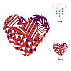 Bright  Memphis Purple Triangle Playing Cards (heart)