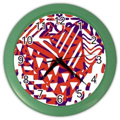 Bright  Memphis Purple Triangle Color Wall Clocks