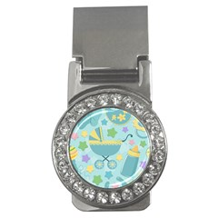 Baby Stroller Star Blue Money Clips (cz)