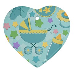 Baby Stroller Star Blue Heart Ornament (two Sides)