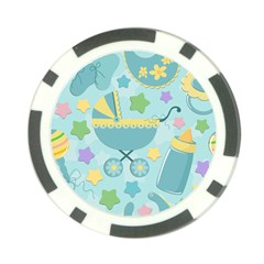 Baby Stroller Star Blue Poker Chip Card Guard