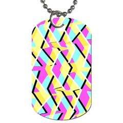 Bright Zig Zag Scribble Yellow Pink Dog Tag (two Sides) by Alisyart