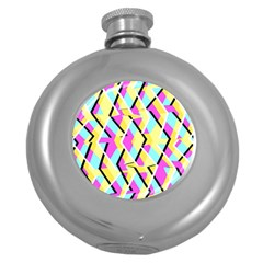 Bright Zig Zag Scribble Yellow Pink Round Hip Flask (5 Oz) by Alisyart