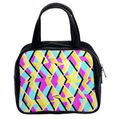 Bright Zig Zag Scribble Yellow Pink Classic Handbags (2 Sides) by Alisyart