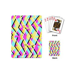Bright Zig Zag Scribble Yellow Pink Playing Cards (mini)