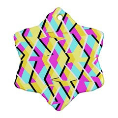 Bright Zig Zag Scribble Yellow Pink Ornament (snowflake)