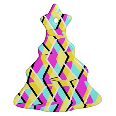 Bright Zig Zag Scribble Yellow Pink Christmas Tree Ornament (two Sides)