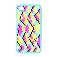 Bright Zig Zag Scribble Yellow Pink Apple Iphone 4 Case (color)
