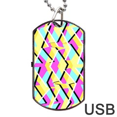 Bright Zig Zag Scribble Yellow Pink Dog Tag Usb Flash (one Side)