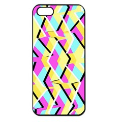 Bright Zig Zag Scribble Yellow Pink Apple Iphone 5 Seamless Case (black)